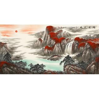 【已售】国家一级美术师陈厚刚四尺聚宝盆山水画《鸿运天成》