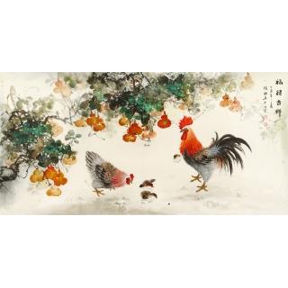 【已售】写意生肖雄鸡图 张琳四尺横幅动物画《福禄吉祥》