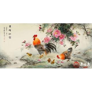 【已售】张琳四尺横幅动物画雄鸡牡丹图《吉祥如意》