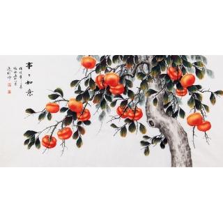 【已售】国画柿子图 张琳四尺横幅写意花鸟画《事事如意》