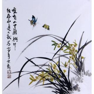 【已售】广西美协石云轩写意花鸟画《唯有山中兰兴竹》