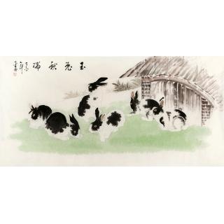 客厅装饰画 生肖图 李云舟四尺横幅动物画 兔《玉兔献瑞》