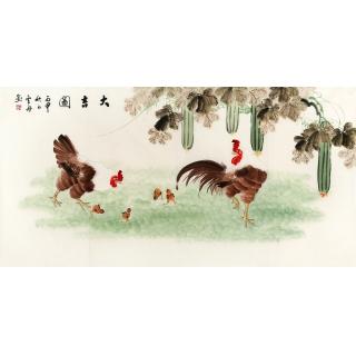 实力派画家李云舟四尺横幅花鸟画《大吉图》