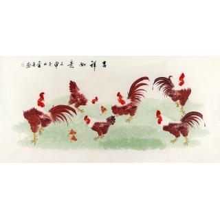 实力派画家李云舟四尺横幅花鸟画《吉祥如意》