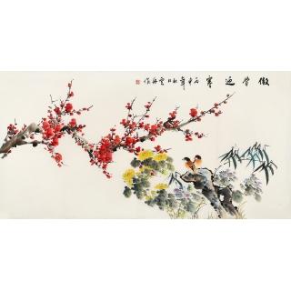 李云舟四尺横幅花鸟画《傲骨迎寒》