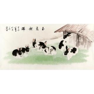 【已售】卧室装饰画 李云舟四尺横幅写意动物画 兔《玉兔献瑞》