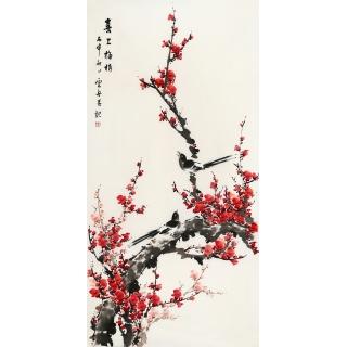【已售】实力派画家李云舟四尺竖幅梅花图《喜上梅捎》