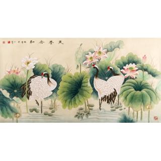【已售】王一容工笔画荷花仙鹤作品《天香合和》祝寿图