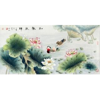 【已售】王一容四尺横幅花鸟画《和气致祥》