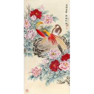 【已售】玄关挂画首选 王一容牡丹锦鸡图《花开富贵 锦绣前程》