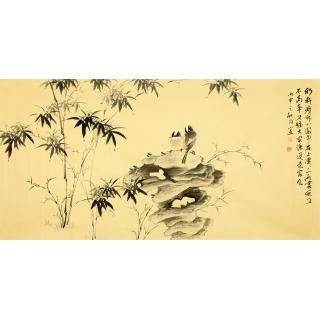 河南美协皇甫小喜四尺横幅花鸟画作品《墨竹图》