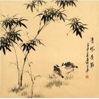 皇甫小喜四尺斗方水墨写意竹子图《清风亮节》