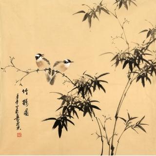 河南美协皇甫小喜四尺斗方花鸟画作品《竹鹊图》