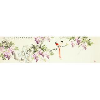 【已售】河南美协皇甫小喜六尺对开小写意精品花鸟紫藤图