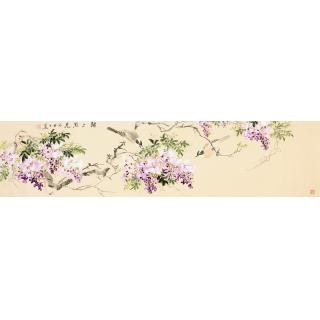 【已售】河南美协皇甫小喜四尺对开花鸟画 《锦上添花》