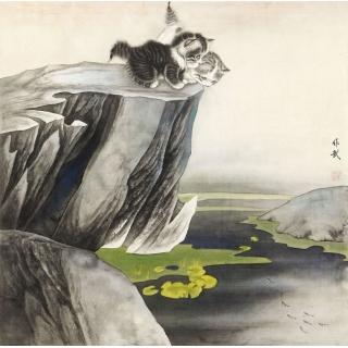 【已售】卧室挂画 餐厅装饰画 马作武工笔斗方动物画 猫《春趣》