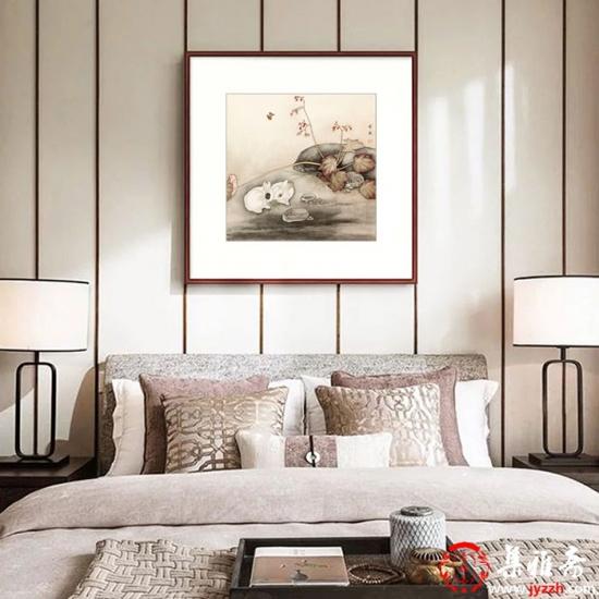 餐厅装饰画 卧室挂画 马作武斗方工笔动物画 生肖图 兔《穷款》