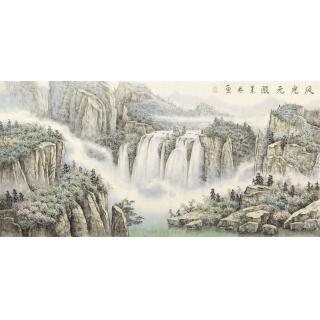 【已售】中美协会员俎翠林四尺横幅山水画《风光无限》