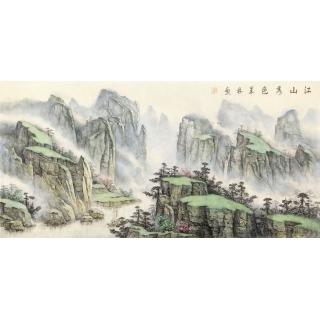 【已售】中美协画家 俎翠林四尺横幅山水画《江山秀色》