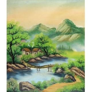 欧式玄关油画 走廊过道风景装饰画 邹志兴油画《梦回村庄》