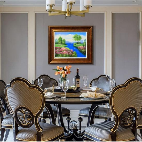 现代客厅装饰画 餐厅油画卧室画 邹志兴油画《山水画》