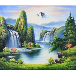 【已售】客厅装饰画 欧式风景油画 邹志兴油画《夏天的湖》