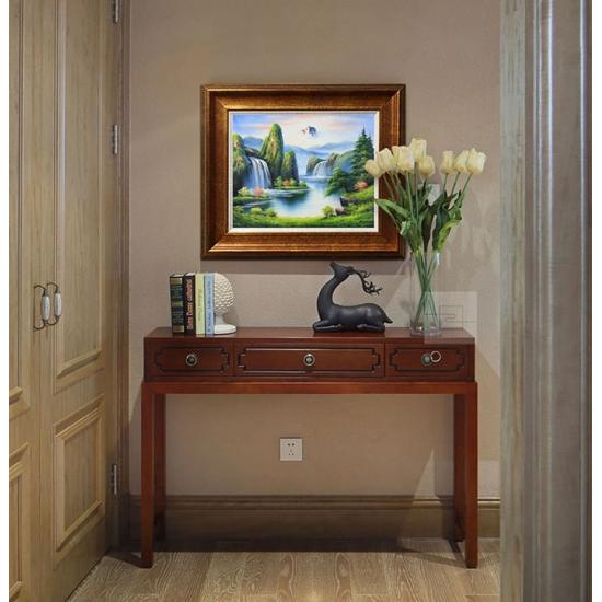客厅装饰画 欧式风景油画 邹志兴油画《夏天的湖》