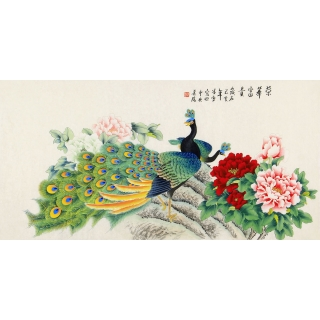 北京美协 凌雪四尺横幅孔雀牡丹图《荣华富贵》
