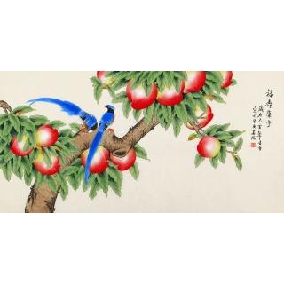 北京美协 凌雪四尺工笔花鸟画《福寿康宁》