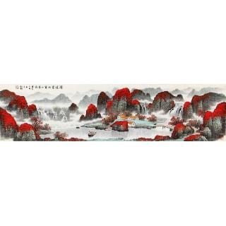 杨炳钧四尺对开山水画作品《鸿运当头富水长流》