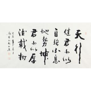 《周易》名言 顾凤耀四尺横幅新品行书《天行健》