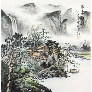 【已售】装饰字画 阎宝珍四尺斗方山水画《清泉雅韵》