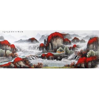 【已售】招财聚宝盆 杨炳钧六尺横幅挂画《依山傍水好幽居》