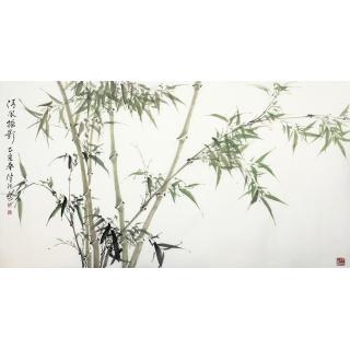 肖洪辉六尺横幅竹子画《清风摇影》