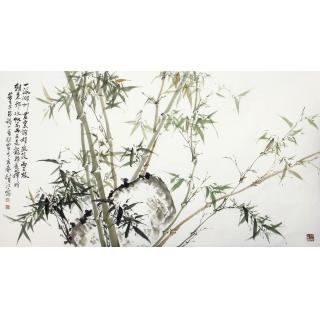国家一级美术师肖洪辉六尺横幅写意竹子国画《清风》
