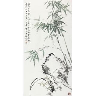 玄关走廊挂画 肖洪辉四尺竖幅竹子图《竹影清风》