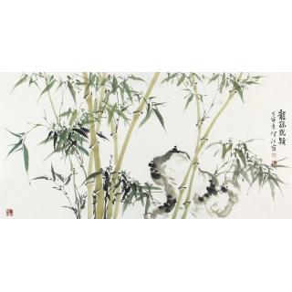 肖洪辉四尺横幅国画竹子图《龙孙脱颖》
