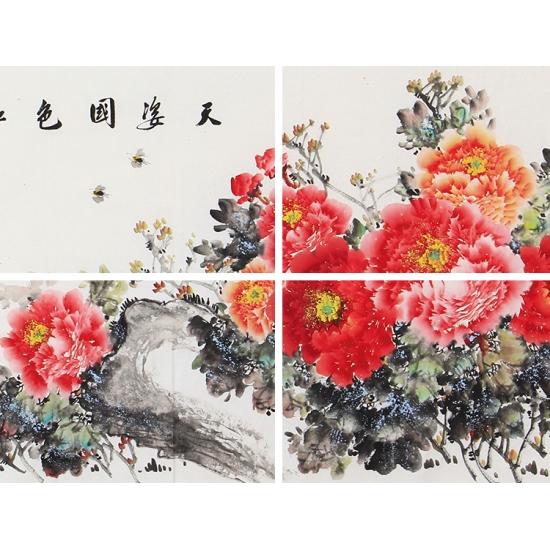 大富大贵国画牡丹 张福生六尺横幅写意花鸟画《天姿国色》