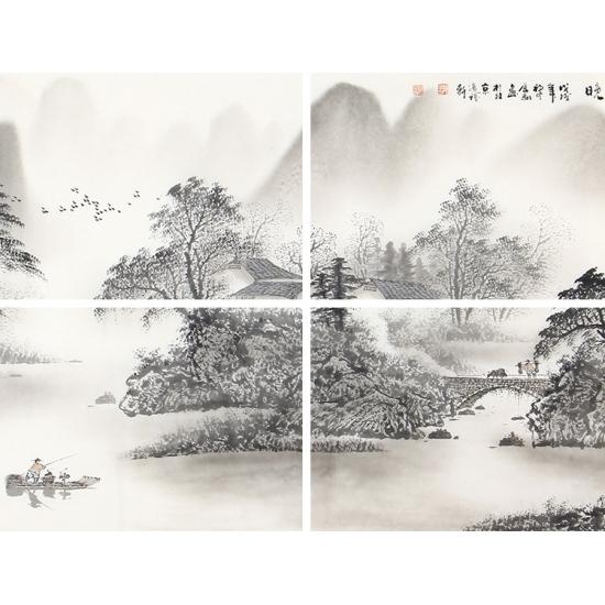 水墨丹青 陈厚刚六尺横幅山水画《渔舟唱晚》