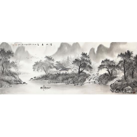 陈厚刚六尺横幅山水画作品《云山春色》