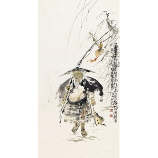 江苏省美协会员李傅宇三尺竖幅人物画《连年有余》