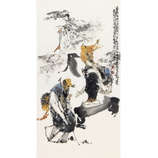 江苏省美协会员李傅宇三尺竖幅人物画《杏花村》