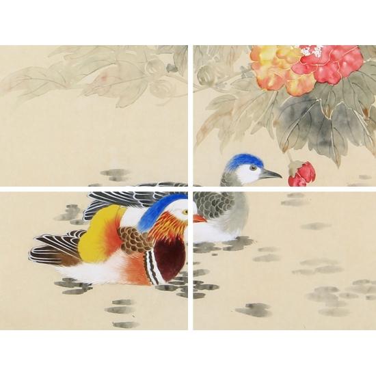 卧室挂画必备 张琳斗方工笔花鸟画《轻轻拂浅沙》