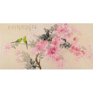 张琳四尺横幅工笔花鸟画《粉艳芳姿》