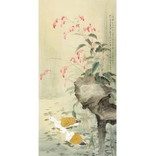 张琳老师新品创作四尺竖幅花鸟画《小时常见此植物》