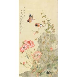 张琳四尺竖幅花鸟画《娇艳醉舞》
