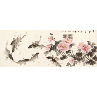 【已售】实力派画家徐然六尺花鸟画作品牡丹九鱼图《富贵有余》