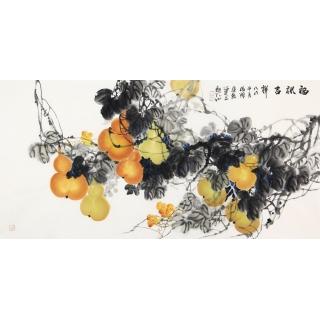 石云轩新品写意花鸟画葫芦图《福禄吉祥》