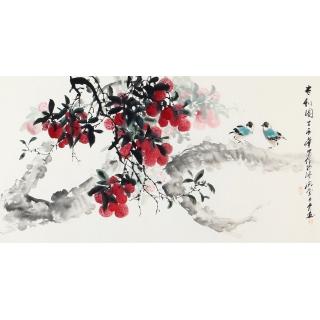 周丹青花鸟画新作三尺横幅荔枝《吉利图》