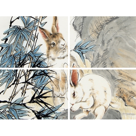 客厅装饰画 生肖图 王鹏四尺竖幅动物画 兔《天使洁白宜婵娟》